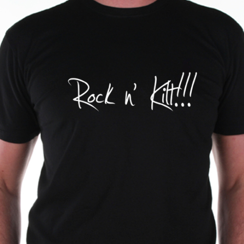 "BLACK T SHIRT FOR MEN ""Rock n' Kilt !!!"" CELKILT"