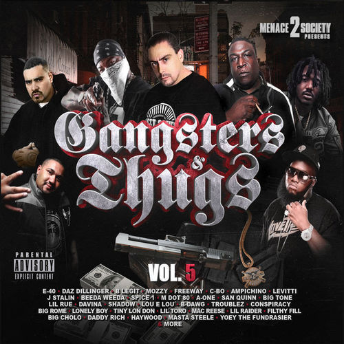 "MENACE 2 SOCIETY PRESENTS ""GANGSTERS & THUGS VOL. 5"" (NEW CD)"
