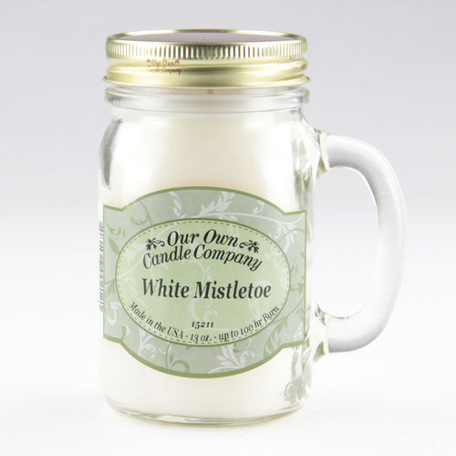 White Mistletoe Large Mason Jar