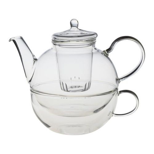 Glass Tea-For-One Tea Pot, Cup and Glass Infuser Set