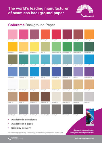 Colorama Paper 2.72m / 9ft Background Rolls