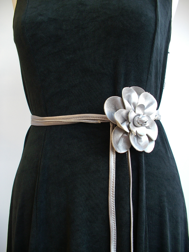 Silver leather skinny belt with handmade corsage flower