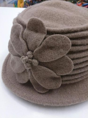 Beige Winter Hat with Flower