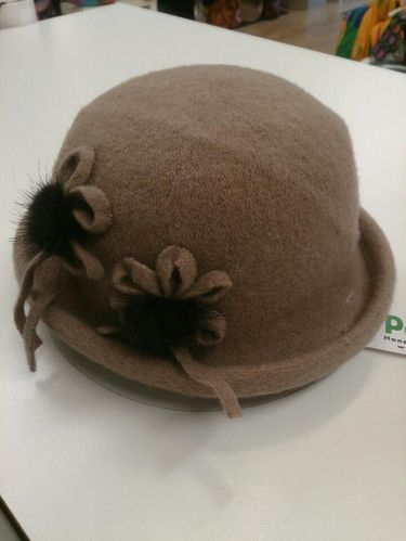 Beige Winter Hat with Black Flower