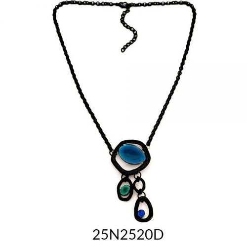 Small Drop Necklace Black Turquoise Enamel