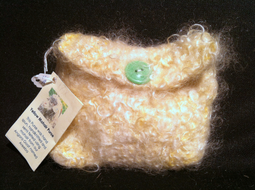 Mohair Knitted Purse Yellow
