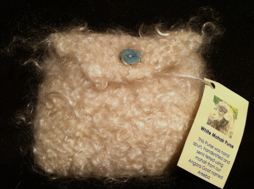 Mohair Knitted Purse White