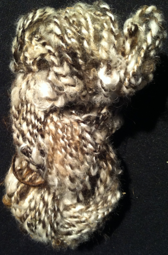 Roughly Spun White and Brown Art Yarn