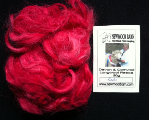 Devon & Cornwall Longwool Loose Fleece Reds 50g