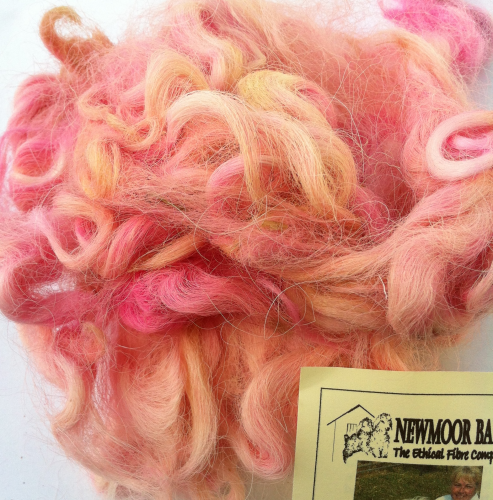 Devon & Cornwall Longwool Loose Fleece Pink 50g