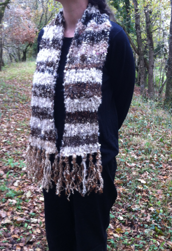 Brown and White Striped Mohair Scarf