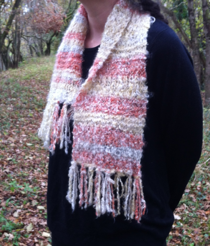 Burnt Orange Striped Mohair Scarf