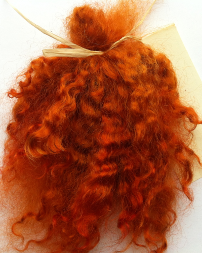 Premium Curly Mohair in Medium Auburn Shades