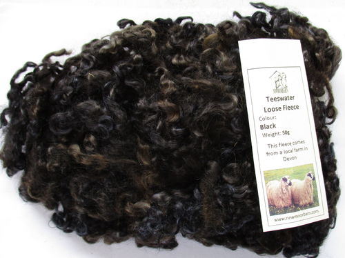50g Teeswater Loose Fleece in Black/Brown