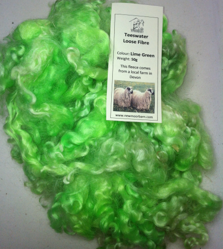 50g Teeswater Loose Fleece in Lime Green