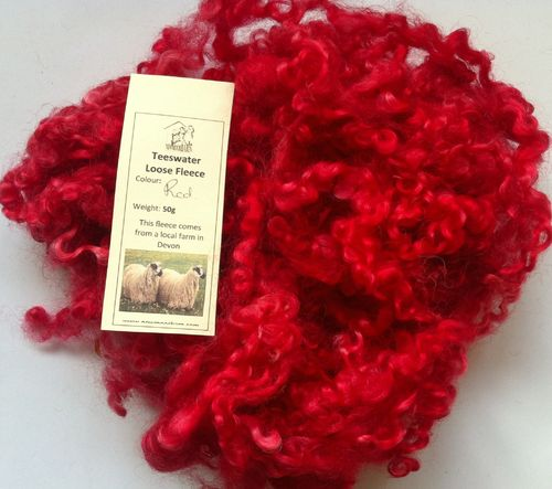 50g Teeswater Loose Fleece in Red