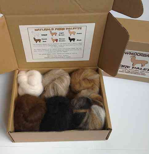 Undyed, Natural Colours Pallete Alpaca Fibre 6 X 15g