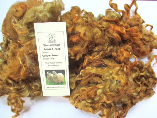 Wensleydale Loose Fleece Copper Brown 50g