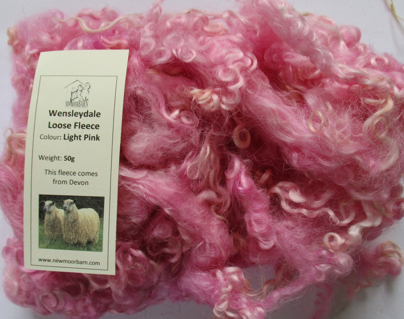 Wensleydale Loose Fleece Light Pink 50g