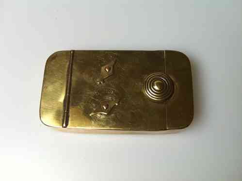 Antique 1820 brass 2 dial puzzle snuff box