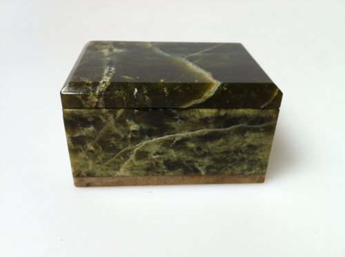 Early Green Marble miniature Casket