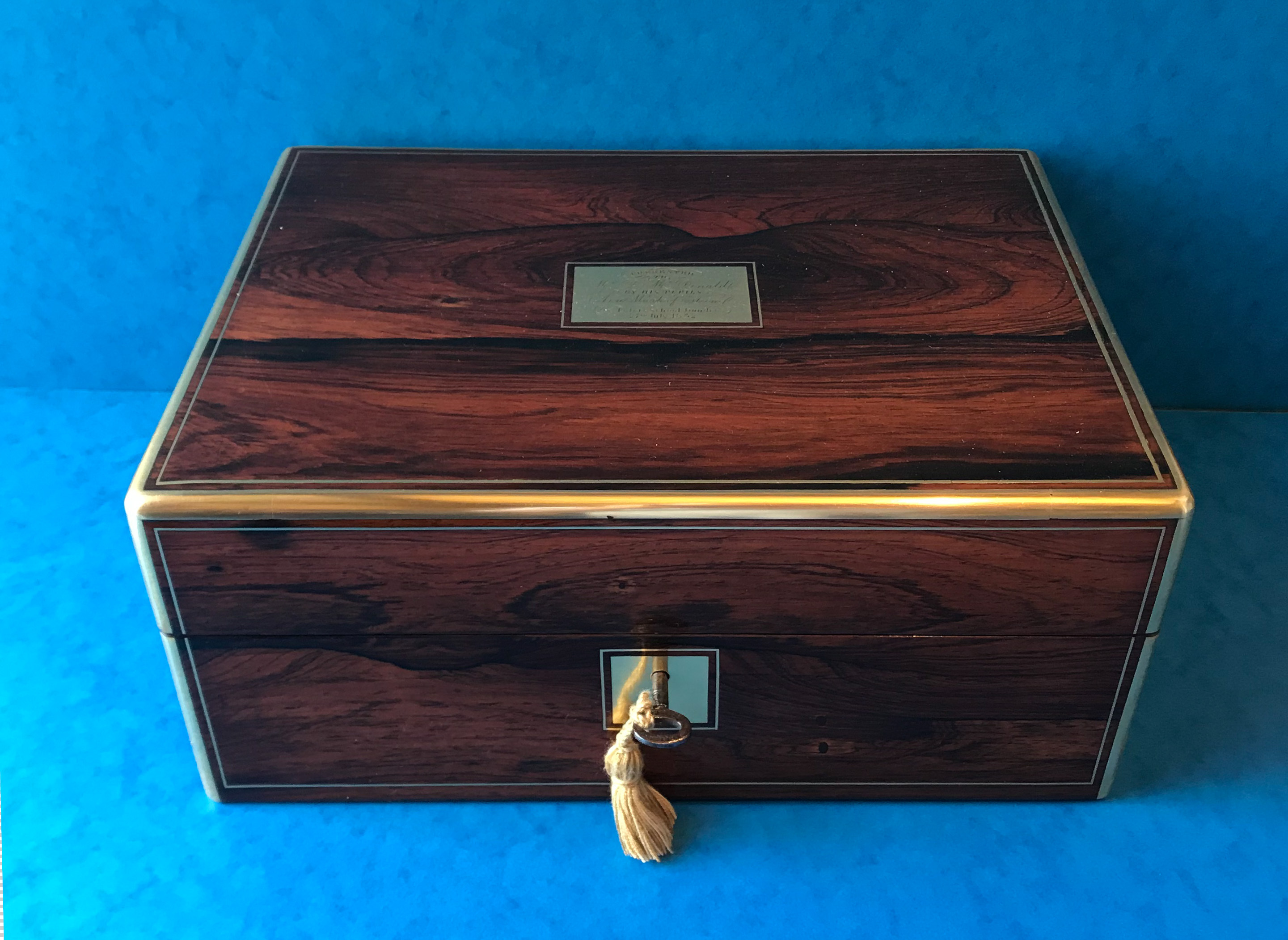 Victorian Rosewood & Brass Bound Box