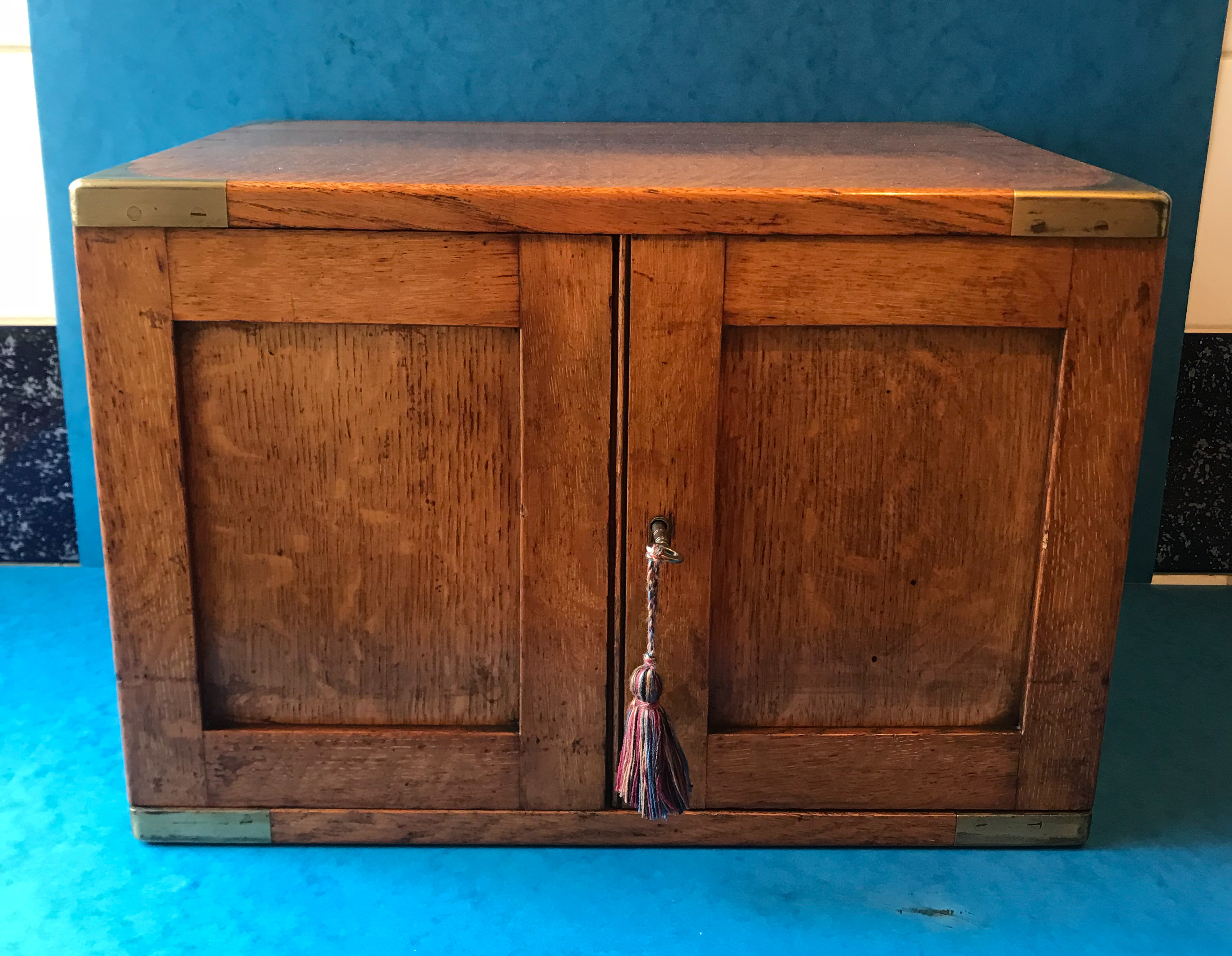 Victorian 1880 Brass Bound Oak Cigar Cabinet