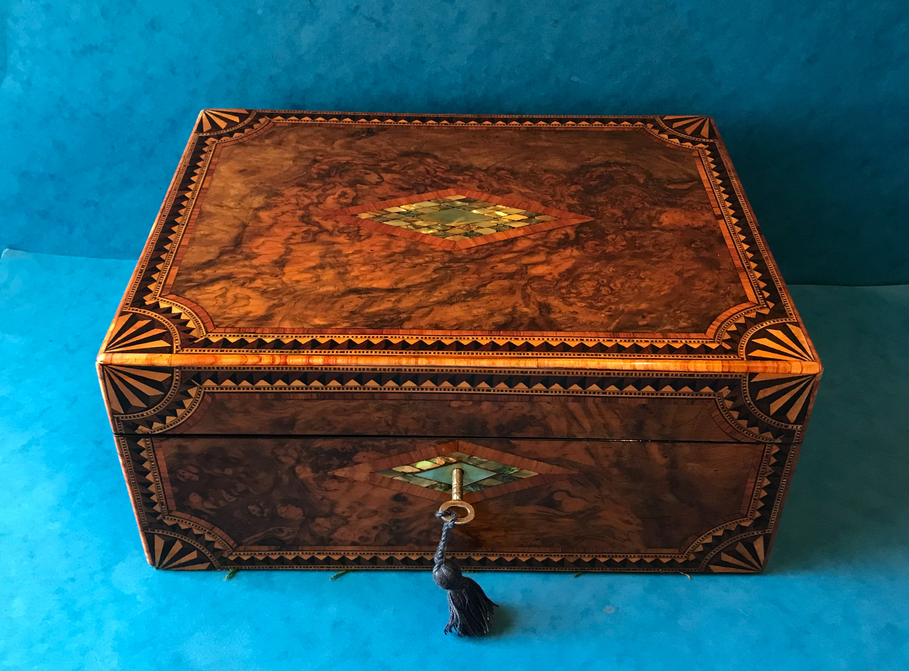 Burr Walnut Tunbridge Ware Box