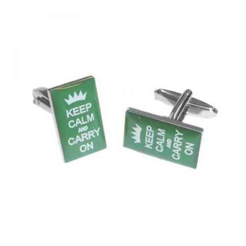 Green Keep Calm and Carry On Cufflinks