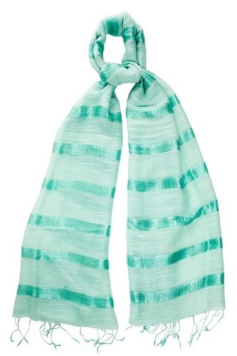 Mint Silk and Linen Stripe Scarf