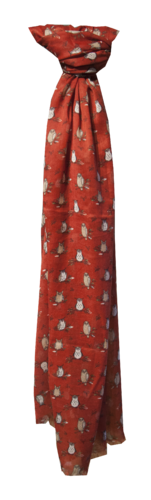 Red Scarf with Perched Owl design