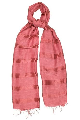 Baroque Rose Silk and Linen Stripe Scarf
