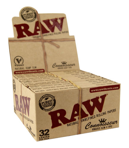 Raw Connoisseur Kingsize Slim Papers + Tipps 24er Box