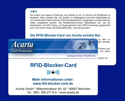 RFID-Blocker-Card, Acarta Layout, ab 1 Stück
