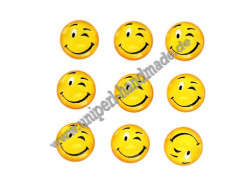 Emoji Cabochon, 14 mm, Smiling Face With Winking Eye