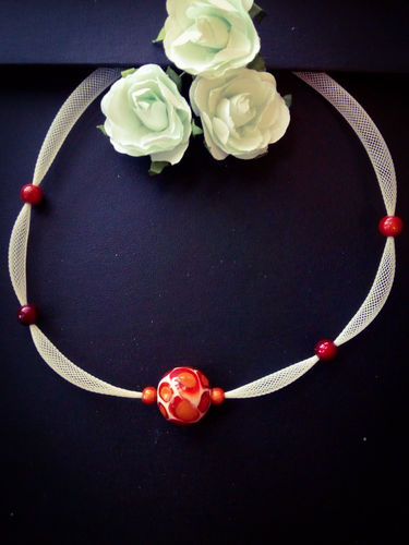 Collier univers Murano rouge