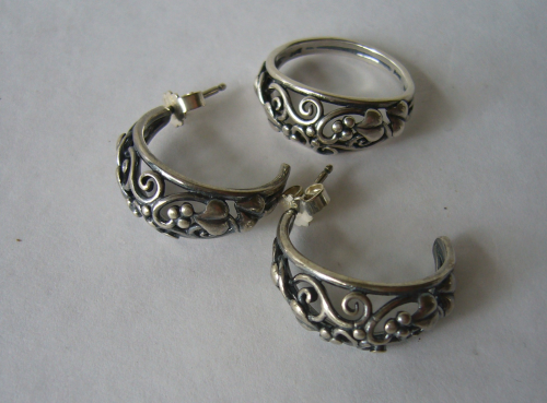 COF Sterling foliage ring and earrings (studs)