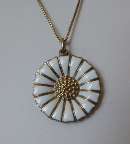 Anton Michelsen Marguerite enamel pendant and chain