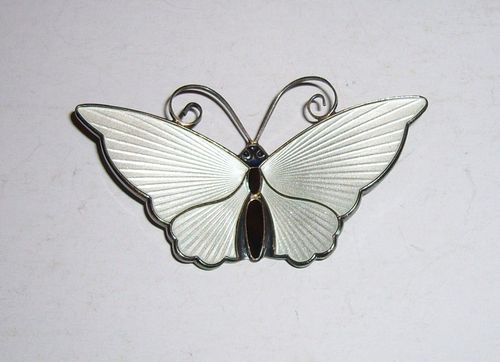 D-A Sterling largest enamel butterfly brooch, white only