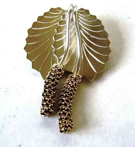 HN silver and gilt leaf and catkin brooch