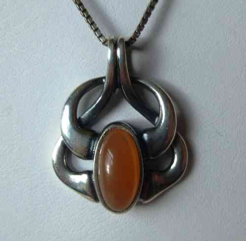 Georg Jensen 2006 pendant with orange moonstone + chain