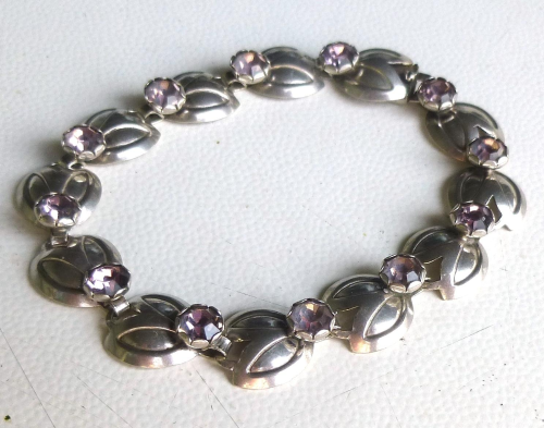 "Siersbøl Sterling  bracelet with lilac stones, 6.5"" /16.5cm"