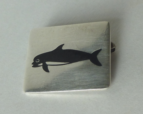 JTH Sterling Greenland whale brooch