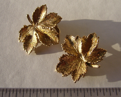 Danish Sterling silver gilt leaf ear clips
