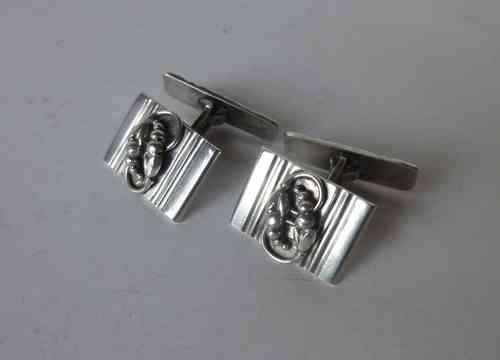 Denmark Willy Kromar silver Deco foliage cufflinks
