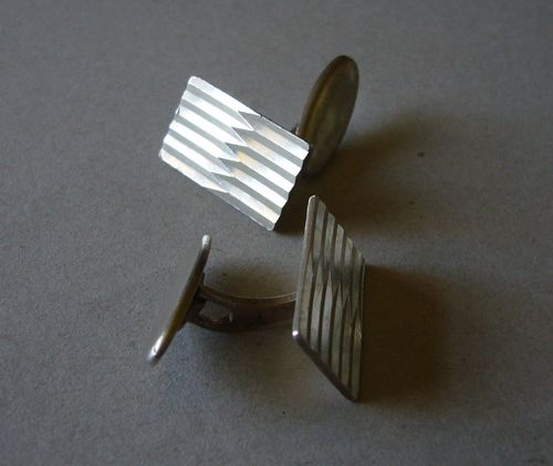 GIFA silver abstract ridged cufflinks
