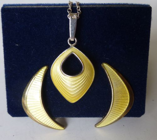 Jemax yellow enamel pendant and ear clips