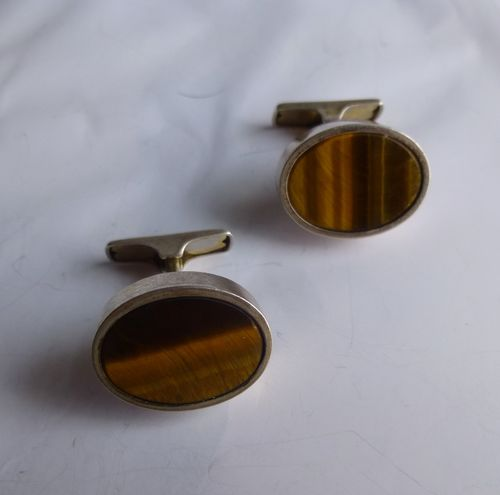 Kupittaan Kulta Sterling silver Tiger Eye cufflinks
