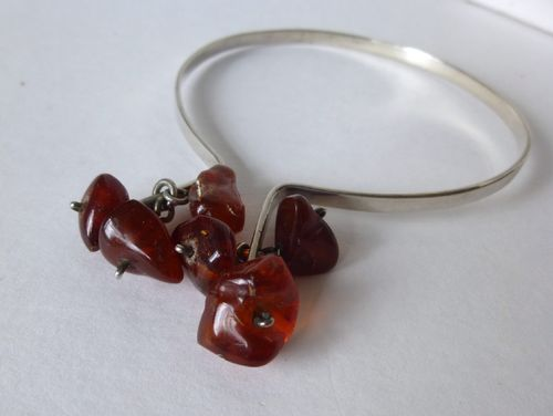 S Falk Andersen silver bangle with amber dangles