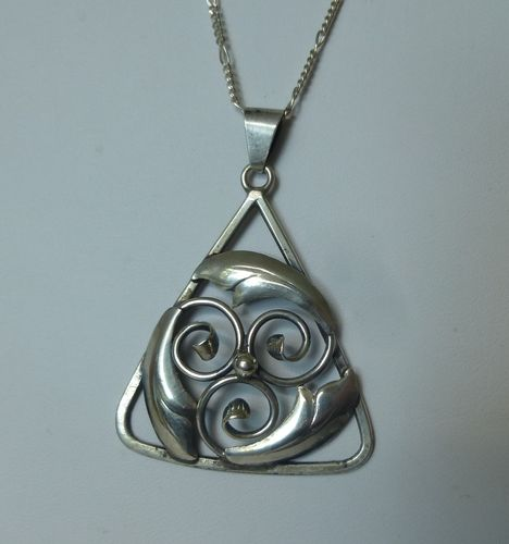 C.Brumberg Hansen silver foliage and scrolls pendant + chain